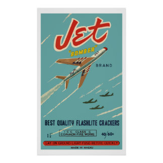 Jet Bomber Vintage Chinese Firecracker Posters