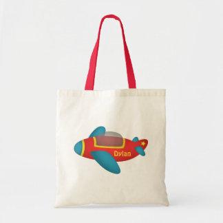 Jet colorido lindo del avión para los niños bolsa tela barata