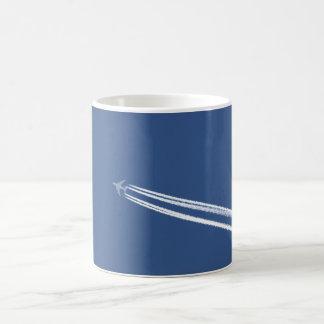 Jet Contrails in Blue Sky Coffee Mug