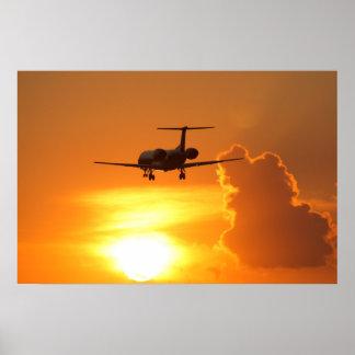 Jet de la puesta del sol póster