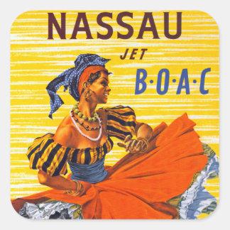 Jet de Nassau Pegatina Cuadrada