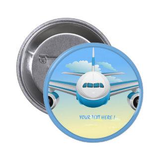 Jet en el botón del cielo pin redondo de 2 pulgadas