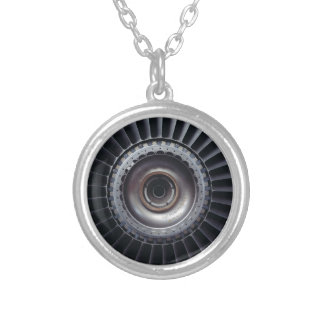 Jet Engine Silver Plated Necklace