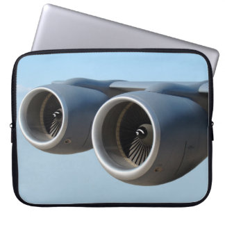 Jet Engines in Blue Sky Laptop Sleeve
