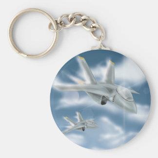 Jet Fighter Aircraft Basic Round Button Keychain