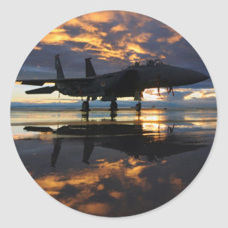 Jet Fighter Aircraft Pilot Wings Destiny Round Stickers