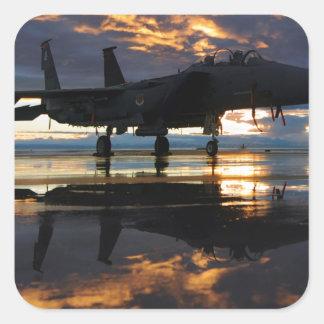 Jet Fighter Aircraft Pilot Wings Destiny Square Sticker