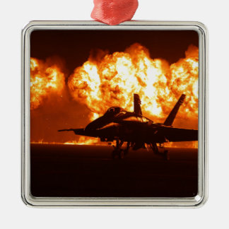 Jet Fighter Flames Silver-Colored Square Decoration