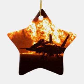 Jet Fighter Flames Ceramic Star Decoration