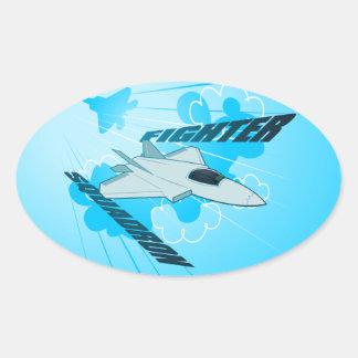 Jet fighter oval sticker