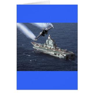 Jet Fighter Over Navy Ship Card