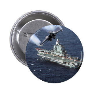Jet Fighter Over Navy Ship Pinback Button