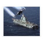 Jet Fighter Over Navy Ship Postcard