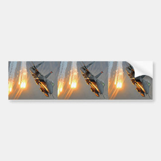 Jet Fighter Releasing Flares Bumper Sticker