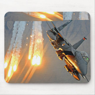Jet Fighter Releasing Flares Mousepad