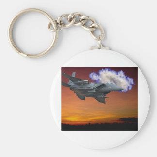 Jet Fighter Sunset Basic Round Button Keychain
