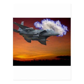 Jet Fighter Sunset Postcard
