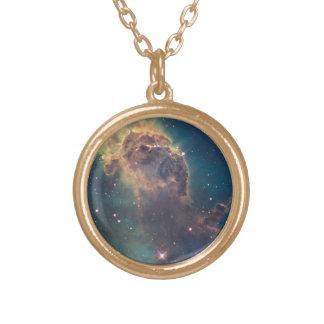 Jet in Carina Nebula Gold Plated Necklace