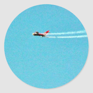 Jet Mig del aeroplano Pegatina Redonda