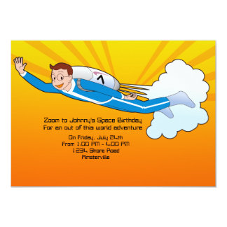 Jet Pack Flyer Space Birthday Party Invitation