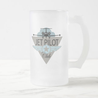 Jet Pilot Club Frosted Glass Beer Mug