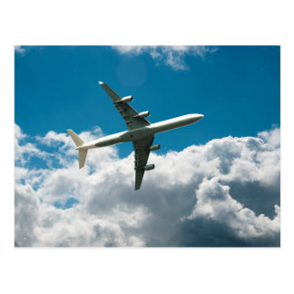 Jet Plane Ascending into Clouds Postcard