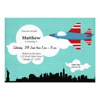 Jet Plane Birthday theme Blue Personalized Announcement