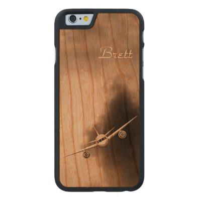 Jet Plane in Sky Pilot Wooden iPhone 6 6S Cases