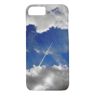 Jet plane trails between clouds iPhone 7 case