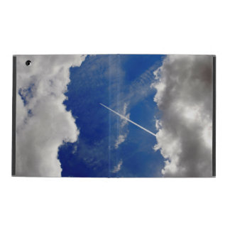 Jet plane trails between two clouds iPad case