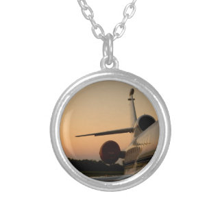 Jet Plane Wing Fly Airport Round Pendant Necklace