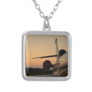 Jet Plane Wing Fly Airport Square Pendant Necklace