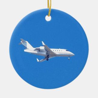 Jet privado adorno navideño redondo de cerámica
