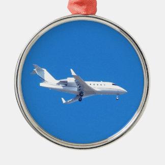 Jet privado adorno navideño redondo de metal