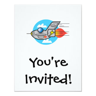"""jet retro del avión invitación 4.25"""" x 5.5"""""""