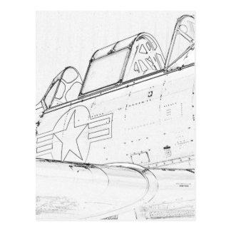 Jet Sketch Postcard
