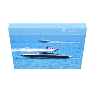 Jet Ski And Boats In The Ocean Canvas Print