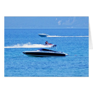 Jet Ski And Boats In The Ocean Card