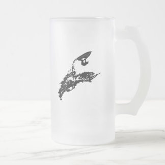 Jet ski big jump frosted glass beer mug