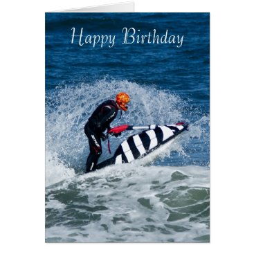 moonlake jet ski water sport birthday greeting card
