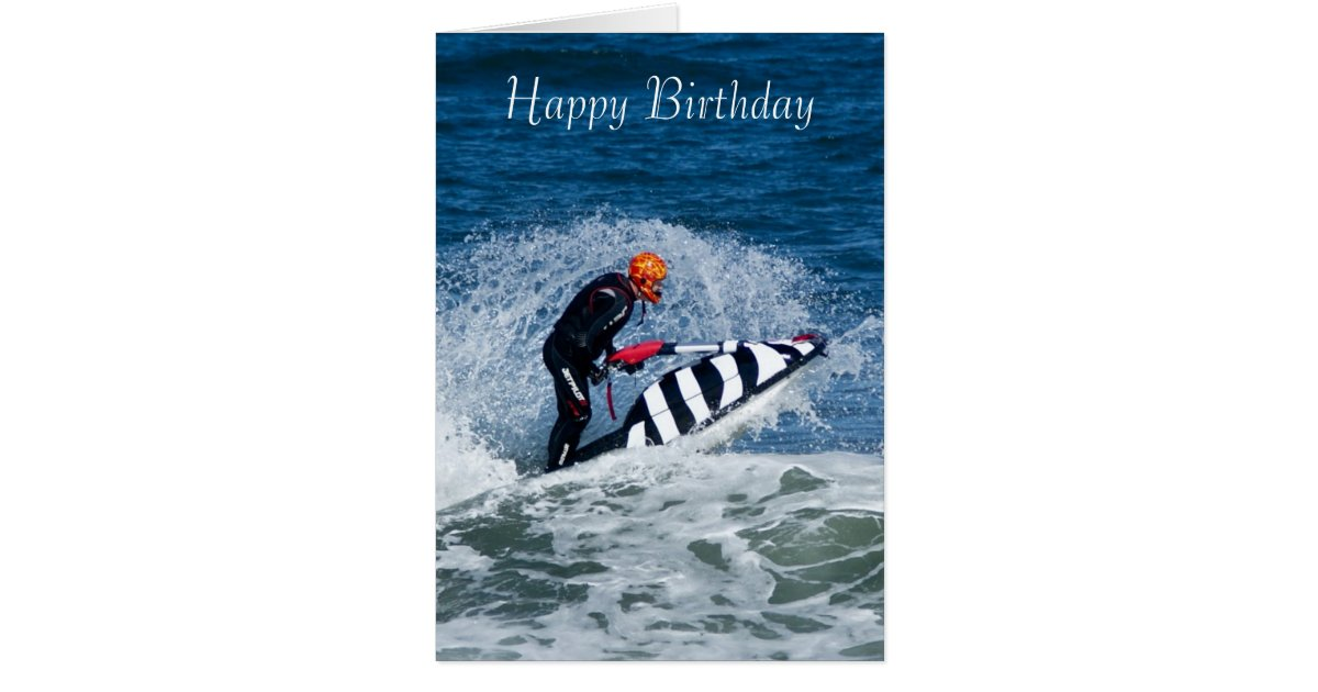 Jet Ski Water Sport Birthday Greeting Card Zazzle Com