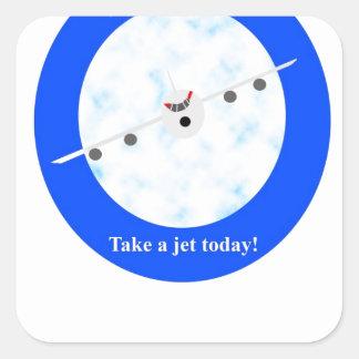 Jet Travel Square Stickers