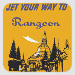 Jet Your Way to Rangoon Square Sticker