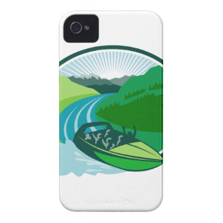 Jetboat River Canyon Mountain Oval Retro Case-Mate iPhone 4 Cases