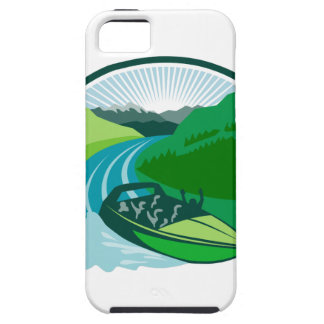 Jetboat River Canyon Mountain Oval Retro iPhone SE/5/5s Case