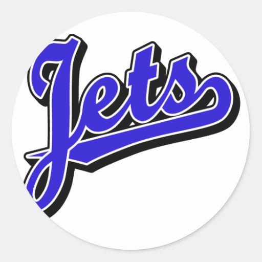 Jets en azul pegatina redonda
