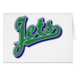 Jets en verde y azul tarjeta
