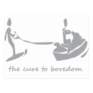 Jetski/waterskiing is the cure to boredom postcard