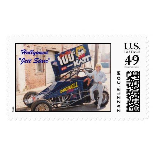Jett Starr con su coche de la suciedad de los años Franqueo
