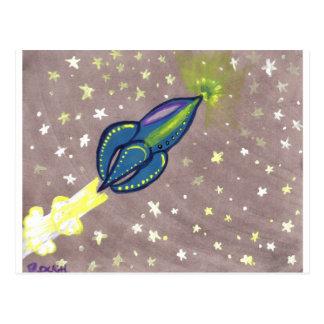 Jette Rockit - Blue Rocket Postcard